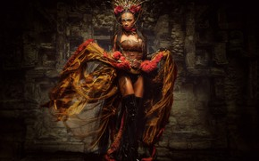 Picture girl, style, boots, crown, dress, Queen of Chicanna