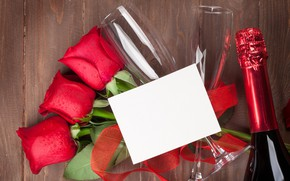 Picture love, flowers, roses, bouquet, glasses, red, red, love, wood, flowers, romantic, Valentine's Day, gift, roses