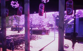 Picture auto, spring, Sakura, bells, lanterns