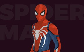 Picture red, background, the inscription, vector, costume, superhero, Spider-man, Spider-Man, Peter Parker