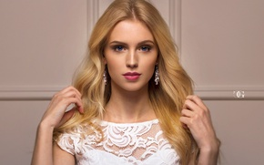 Picture girl, portrait, makeup, dress, hairstyle, blonde, beautiful, in white, Carl Gia