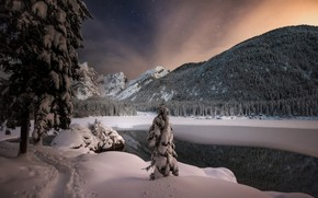 Picture winter, snow, trees, mountains, night, lake, Italy, Italy, The Julian Alps, Julian Alps, Fusine Lake, …