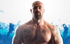 Wallpaper bodybuilder, actor, Sergey Badyuk, public figure, athlete, bodybuilder, tattoo, beard, muscle, tattoo, muscle, look