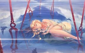 Picture water, girl, reflection, anime, art, neon genesis evangelion, evangelion, soryu asuka langley