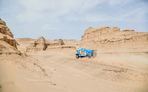 Picture The sky, Sand, Nature, Rocks, Sport, Desert, Speed, Truck, Race, Master, Beauty, Russia, Beast, Kamaz, …