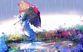 Picture the rain, drops, flowers, chamomile, umbrella, puddle, girl, sitting, art, respirator, sailor, Lluluchwan