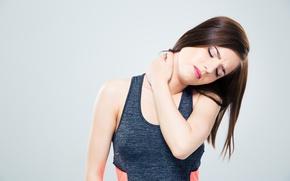 Picture Brunette, neck, contracture, backache