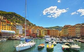 Wallpaper sea, beach, shore, boats, Italy, Italy, travel, Camogli, Liguria, basilica