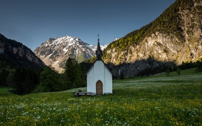 Picture summer, mountains, chapel