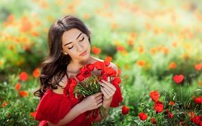 Picture field, summer, girl, flowers, nature, Maki, dress, brunette, curls