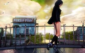Picture girl, face, hair, walk, legs, the bridge