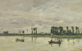 Picture landscape, river, boat, picture, Eugene Boudin, Eugene Boudin, Kodak-EN-Caux. The Banks Of The Seine