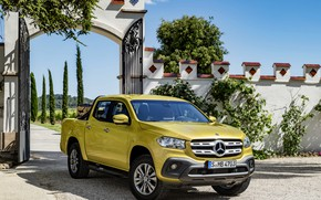Picture road, trees, yellow, vegetation, the fence, Mercedes-Benz, gate, pickup, cargo, 2017, X-Class