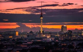 Picture twilight, Germany, sunset, dusk, Berlin, cityscape, TV tower, TV Tower