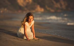Wallpaper girl, shore, sea