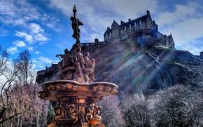 Picture trees, castle, Scotland, hill, fountain, Scotland, Edinburgh, Edinburgh, Edinburgh castle, Edinburgh Castle, Ross Fountain, Princes …