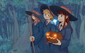 Picture girl, forest, hat, anime, asian, witch, japanese, oriental, asiatic, bishojo, shounen, mahou, Little Witch Academia