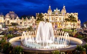 Picture night, lights, fountain, Palace, Monaco, Monte Carlo, Casino