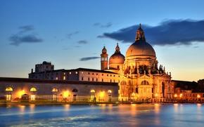 Picture backlight, Italy, Venice, channel, Venice, Grand Canal, Santa Maria della Salute
