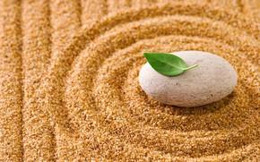 Wallpaper sand, leaf, zen, stones, sand, stone