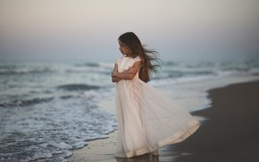 Picture wave, shore, dress, surf, girl