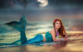 Picture sea, water, decoration, the moon, shore, mermaid, girl, the little mermaid, Ekaterina Dombrugova