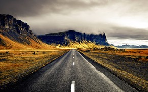 Picture road, clouds, mountains, Iceland