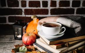 Wallpaper Apple, pumpkin, books, tea, drink, autumn, leaves