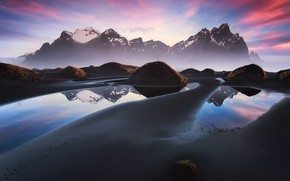 Picture beach, mountains, Iceland, Cape, Stokksnes, Have stoknes