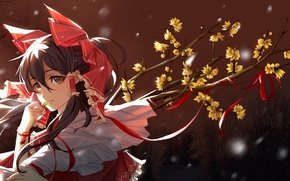 Picture face, branch, bracelet, bow, flowering, touhou, bangs, Hakurei Reimu, Touhou Project, Project East