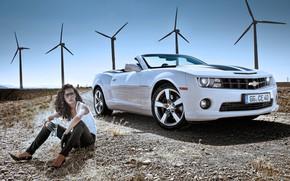 Picture girl, Road, windmills, 2011, Chevrolet Camaro Convertible