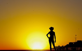 Picture girl, sunset, silhouette