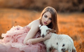 Picture girl, model, beauty, portrait, goat, lamb, photo by Alessandro di Cicco