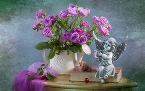 Picture roses, bouquet, angel, shell, book, figurine