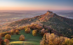 Wallpaper Hechingen, Hechingen, Baden-Württemberg, Baden-Württemberg, autumn, forest, mountain, Germany, Germany, panorama, castle, Mount Hohenzollern, The Swabian ...