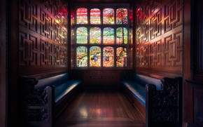 Wallpaper window, stained glass, bench, London, Two Temple Place, England