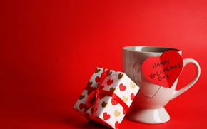 Picture red, background, gift, the inscription, Cup, heart, Valentine's day, ribbon, box