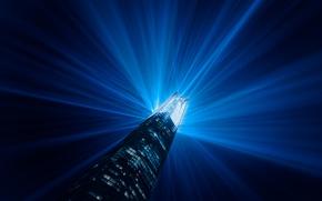 Wallpaper night, skyscraper, London, England, building, light beams, illuminated, shard lights