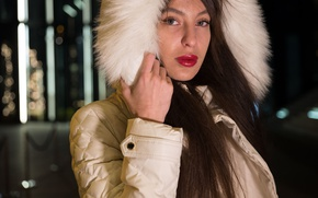 Picture look, face, background, model, hair, lipstick, fur, coat, Maria