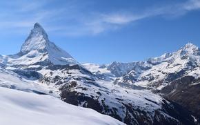 Picture rock, sky, landscape, Italy, nature, mountain, snow, Matterhorn, peak