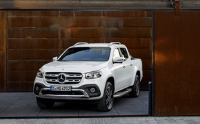 Picture white, wall, Mercedes-Benz, garage, gate, plate, pickup, 2017, X-Class