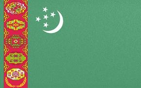 Picture green, flag, ornament, Turkmenistan, Baydak, welayat, flag save, Turkmenistan flag