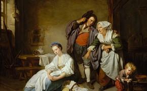 Picture interior, picture, genre, Jean-Baptiste Greuze, Broken Eggs, Jean-Baptiste Greuze