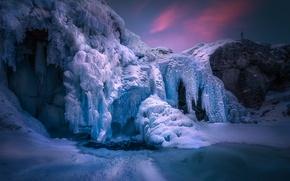 Picture winter, waterfall, ice, frost, Norway, Norway, Hemsedal, frozen, Hemsedal, Rjukandefoss