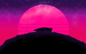 Picture The sun, Auto, Music, Stars, The moon, Neon, Mountain, Machine, Palm trees, Background, Hill, Triangle, …