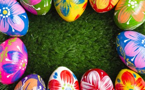 Picture Happy, eggs, spring, the painted eggs, frame, Easter, Easter, colorful, decoration, green grass, grass, spring