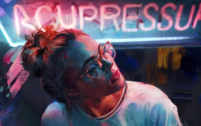 Picture girl, neon, art, glasses, Aaron Griffin