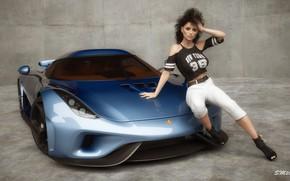 Picture machine, girl, car