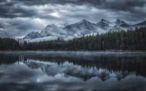 Picture forest, clouds, reflection, mountains, fog, lake, river