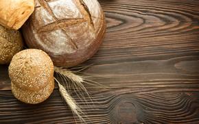 Wallpaper ears, buns, table, bread, tree